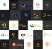 Set liniowi abstrakcjonistyczni logowie Zawijas, okrąg Zdjęcie Royalty Free