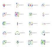Set liniowi abstrakcjonistyczni logowie Zawijas, okrąg Obraz Stock