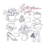 Set liniowi kwiaty i teraźniejszość 8th Marzec Szczęśliwy kobieta dzień Ilustracje dla macierzystego s dnia kartka z pozdrowienia ilustracja wektor
