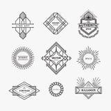 Set liniowy rocznik cienieje kreskowy geometryczny kształta art deco retro d Zdjęcie Royalty Free
