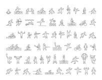 Set liniowych kształtów sportów popularne atlety łatwe tło ikony zamieniają przejrzystego cienia wektor ilustracja wektor