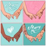 A set of linked hands with his index fingers. Young couples in love. Vector illustration Royalty Free Stock Photography