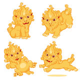 Set of Lion Chinese Style. Cartoon Character Stock Image