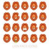 Set of the lion faces Stock Photography