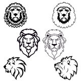 Set of lion heads. Stock Images