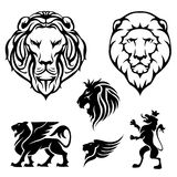 Set of lion. Set of heraldry lion head and design elements,black colored Stock Photos