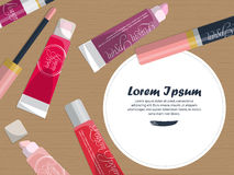 Set of lip glosses on the table with place for your text. Vector Royalty Free Stock Images