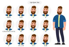 Set of lip sync collection for animation of the talking character. Cartoon character mouth and lips sync for sound pronunciation. royalty free illustration
