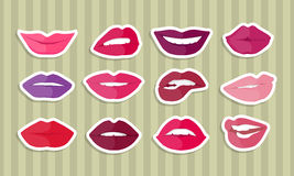 Set of Lips with Expression Emotions. Set of lips with expression of emotions. Comic funny emoticons expressing anger, happiness, sadness, joy, surprise, wonder Royalty Free Stock Image