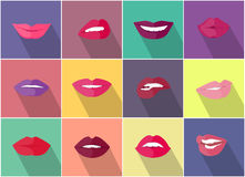 Set of Lips with Expression Emotions. Set of lips with expression of emotions. Funny emoticons expressing anger, happiness, sadness, joy, surprise, wonder Royalty Free Stock Photos