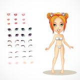 Set1 of lips, eyes, eyebrows, to redhead girl Royalty Free Stock Photos