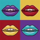 Set lips female pop art  icon Stock Images