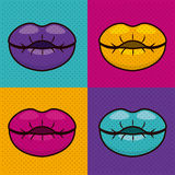 Set lips female pop art  icon Stock Image