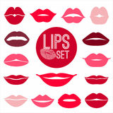 Set of lips. Flat icons. Royalty Free Stock Photo
