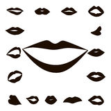 Set lips girl silhouette. Isolated on white background. Icons lips Royalty Free Stock Photography
