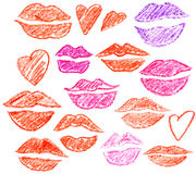 Set of the lips and hearts Stock Images