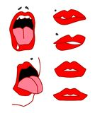 Set of lips, open mouth with tongu, expressing different emotions. Vector stock illustration