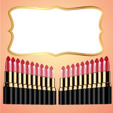 Set of lipstick and background reports Royalty Free Stock Photography