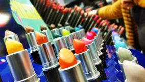 Set Of Lipsticks In Colorful Tones royalty free stock photography