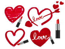 Set of lipsticks and heart shapes Royalty Free Stock Images