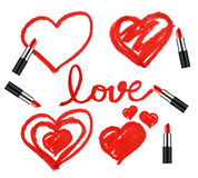 Set of lipsticks and heart shapes Stock Image