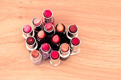 set of lipsticks and lipgloss from above Royalty Free Stock Photo