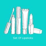 Set of lipsticks Royalty Free Stock Images