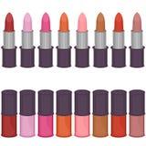 Set with lipsticks and nail polish Royalty Free Stock Photography