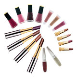 Set of lipsticks and nail polishes Royalty Free Stock Photos