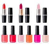 Set with lipsticks and nail varnish. Royalty Free Stock Photography