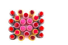 Set of lipsticks red color on white background Royalty Free Stock Photo