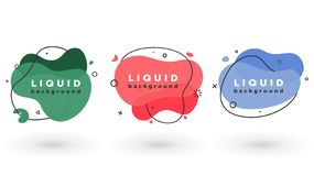 Set of liquid abstract geometric shapes. Fluid flat elements for social post, minimal banner stock illustration