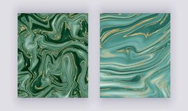 Set liquid marble texture. Green and golden glitter ink painting abstract pattern. Trendy backgrounds for wallpaper, flyer, poster. Card, invitations. Modern stock image