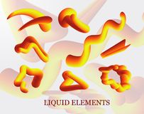 A set of liquid stains, the explosion, the surge of gold drops realistic, figure. liquid 3d splash isolated on light background in. The gradient forms in rainbow stock illustration