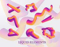 A set of liquid stains, the explosion, the surge of purple drops realistic, figure. liquid 3d splash isolated on light background. The gradient forms in rainbow vector illustration