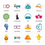 Set of lis, penrose, o fire, cinco de mayo, comma, mont, jasmine, silo, life preserver icons. Set Of 16 simple  icons such as lis, penrose, auto body repair, o Royalty Free Stock Photography