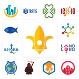 Set of lis, social justice, arm wrestling, grim reaper, earth hour, landlord, nargile, peoples, fishing game icons. Set Of 13 simple editable icons such as lis Royalty Free Stock Photography