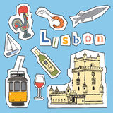 Set of Lisbon icons Stock Image