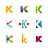 Set listowe K loga ikony projektuje szablonów elementy Kolekcja Zdjęcia Royalty Free