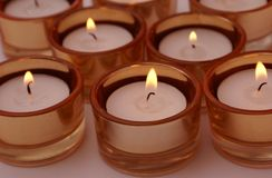 Set of lit candles Stock Image