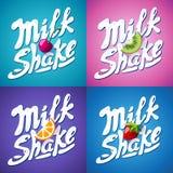 Set literowania milkshake znak z truskawką, kiwi, pomarańcze, wiśnia - etykietka Obraz Stock
