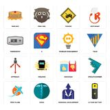 Set of lithium battery, personal development, prop plane, good bad, approach, problem management, thermostat, towing, pancake icon. Set Of 16 simple editable Royalty Free Stock Photography