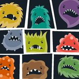 Set of little angry viruses and monsters Royalty Free Stock Images