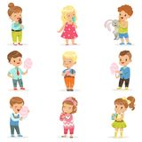 Set of little boys and girls drinking cocktails and eating sweets. Set of little boys and girls eating sweets and drinking cocktails. Ice cream, cotton candy Stock Photo