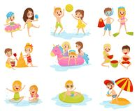 Flat vector set of little children in different actions. Playing with inflatable ball, building castle from sand stock illustration