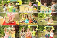 Set with little children selling tasty lemonade. Outdoors royalty free stock photography