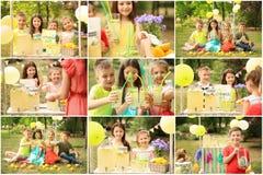 Set with little children selling tasty lemonade. Outdoors stock photo