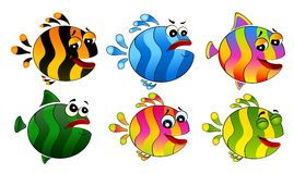 Set of little colorful tropical fish royalty free illustration