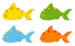 Set of little colorful tropical fish Stock Images