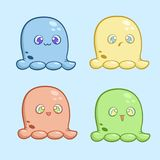 A set of little cute color monsters with different emotions. Vector illustration for stickers or banners Royalty Free Stock Images